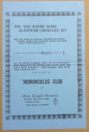 "An original promotional poster asking ""Do You Know Who Aleister Crowley Is?"" and advertising the..."