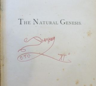 The Natural Genesis ( Volume I ONLY ) Or Second Part of a Book of the Beginnings .... [ with the bookplate, ownership inscription, notes and annotations of former Aleister Crowley associate and head of the Typhonian Order Kenneth Grant ].