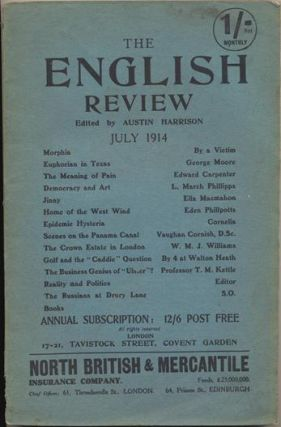 "Aleister Crowley contributes a poem, ""Morphia"" to The English Review, Vol. XVII, No. 4, July..."