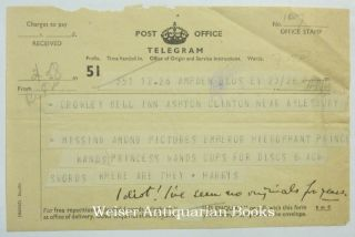 An Original Telegram Sent by Harris to Crowley, with a nine word manuscript annotation in...