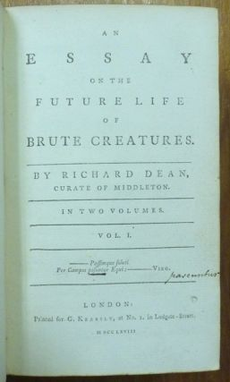 An Essay on the Future Life of Brute Creatures. (2 Volumes in 1).