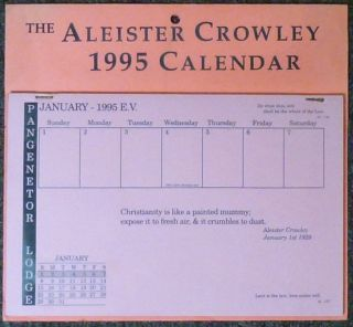 The Aleister Crowley 1995 Calendar. related wor Aleister Crowley, J. Edward CORNELIUS, Marlene, Jerry Cornelius.
