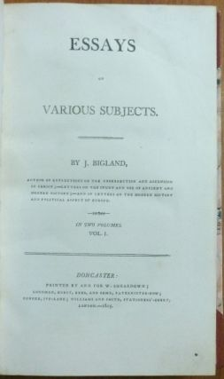 Essays on Various Subjects. Vol. I and Vol. II ( 2 volumes in one ).