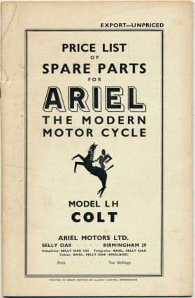 Price List of Spare Parts for Ariel The Modern Motor Cycle Model LH Colt ( Ariel Colt Motorcyle...