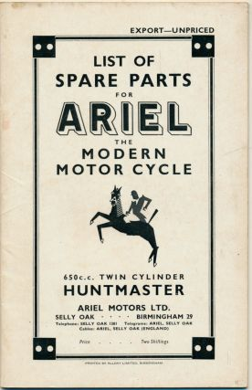 Price List of Spare Parts for Ariel The Modern Motor Cycle 650 c.c. Twin Cylinder Huntmaster (...