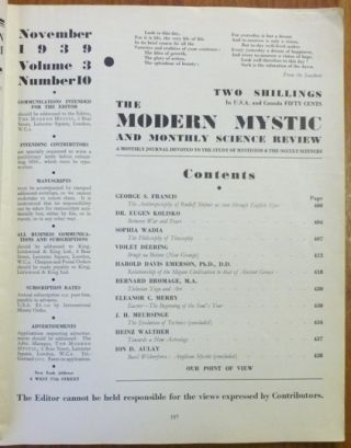 The Modern Mystic and Monthly Science Review - Vol. 3., No. 10, November 1939.