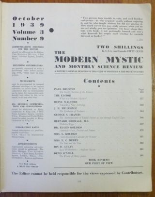The Modern Mystic and Monthly Science Review - Vol. 3., No. 9, October 1939.
