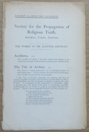 Excerpt A - from the Catalogue ] Society for the Propagation of Religious Truth. Boleskine,...