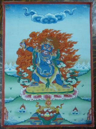 A medium-sized hand-painted Tibetan painted scroll (thangka) depicting the Mahayana Buddhist deity Vajrapani in his wrathful role as a dharmapala (protector or defender of the dharma).