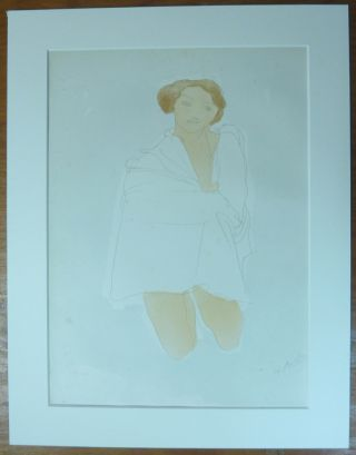 """Femme Accroupie."" An original chromolithograph print of a kneeling female from a water-colour..."