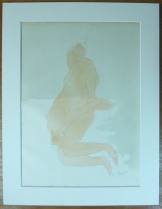 """Femmes Damnees."" An original chromolithograph print of two nude women, apparently in lesbian..."