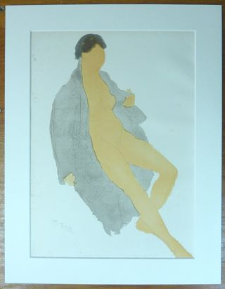 An original chromolithograph print of a nude woman loosely draped in an overcoat or robe. From a...