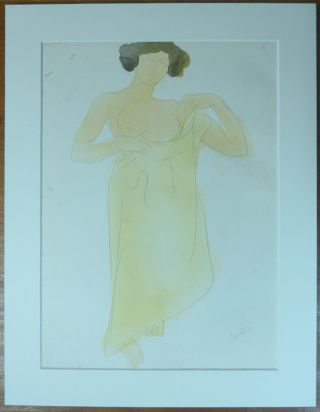 """La Cruche Cassée."" An original chromolithograph print depicting a bare-breasted woman, holding..."