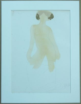 """L'amour qui Passe."" An original chromolithograph print depicting a standing nude woman looking..."