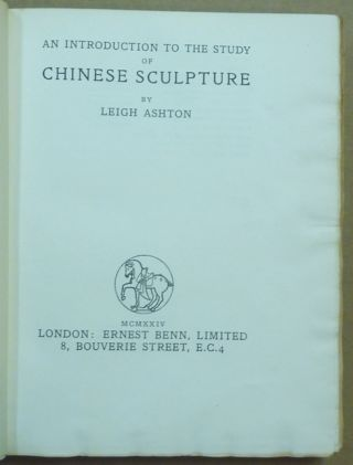 An Introduction to the Study of Chinese Sculpture.