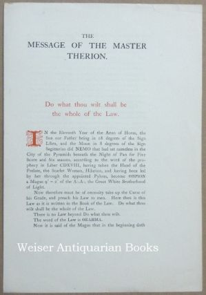 The Message of the Master Therion. Aleister CROWLEY.