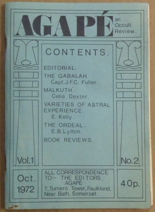 Agapé. A Quarterly Occult Review. Volume 1, No. 2 [ Agapé. The Occult Review / Agapé. An Occult Review]. Aleister; related works CROWLEY, K. A. Meyers, David Hall, Amado 777, Eliphas Levi, Aleister Crowley, Keith Allen.