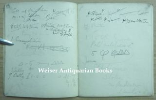 """An original Appointment Book for April-May 1938, with Crowley's manuscript notes of addresses, meetings, etc. for that period, including the original mss. of an extremely crude pornographic poem on 'Sally Pace' all written in a blank printer's """"dummy"""" of the first British edition of """"The Book of the Law."""""""