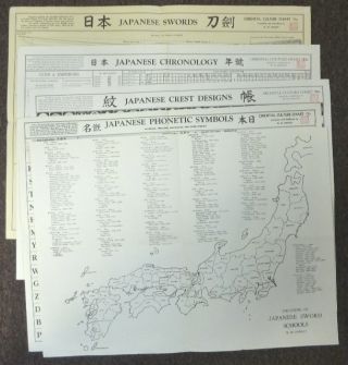 "A Collection of 5 ""Oriental Culture Charts"" ] ""Locations of Japanese Sword Schools""; ""Japanese..."