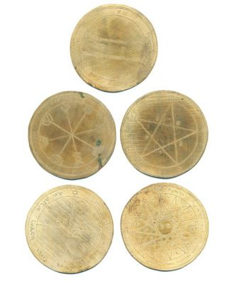 "A set of five engraved metal discs ""The Holy Pentacles or Medals"" of Mercury, after designs in..."