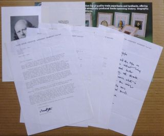 A Collection of 6 Typed Letters, Signed, and one Autograph Letter, Signed, from Martin Booth to...