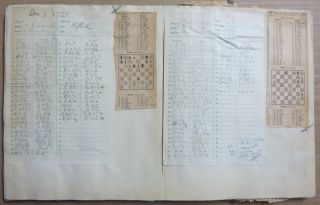 An original scrapbook or album assembled by Crowley on the subject of chess. The book contains manuscript records in Crowley's handwriting of games that he had played, a large number of newspaper clippings of chess games, typescripts recording the details of games played by Crowley, etc. All loosely inserted or pasted into a printer's dummy of the Subscriber's Edition of The Equinox of the Gods.