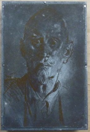 An Original Engraved Metal Printing Plate of an Augustus John portrait of Aleister Crowley which...