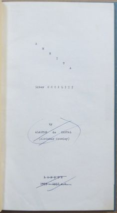 Amrita: Liber CCCXLIII ( Publisher's Mock-up With Unpublished Material ).