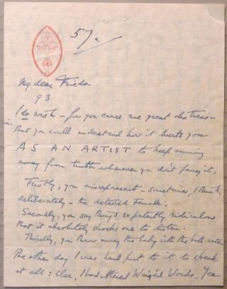 An autograph letter, Signed, from Aleister Crowley to Frieda Lady Harris. Aleister CROWLEY, Signed