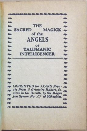 The Sacred Magick of the Angels or Talismanic Intelligencer.