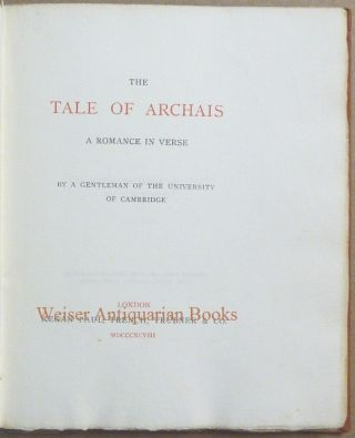 The Tale of Archais. A Romance in Verse.