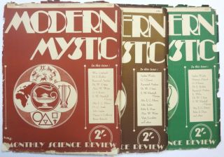 The Modern Mystic and Monthly Science Review. Vol. 2 No. 1, February 1938; No. 2, March 1938; No. 3, April, 1938; No. 4, May, 1938; No. 5, June, 1938; & No. 6, July, 1938; No. 10, November, 1937; No. 11, December, 1937, No. 12, January, 1938 (Six issues).