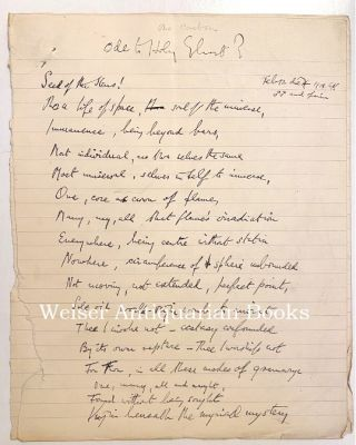 """Ode to Holy Ghost?"" The original holograph manuscript, of an apparently unpublished poem,..."