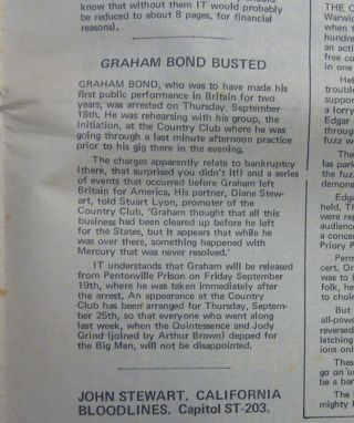 "A two page interview with Grahame Bond by Mark Williams in the ""Plug & Socket"" section of IT (International Times) No. 65, September 26 - October 9, 1969."