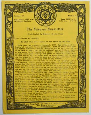 The Newaeon Newsletter, Volume IV, No. 4, September 1985. G. M. KELLY, Aleister Crowley: related...