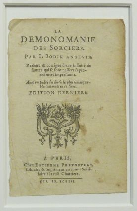 "An original matted, title-page of ""De la Demonomanie des Sorciers"" [ Page de titre seule / Title..."