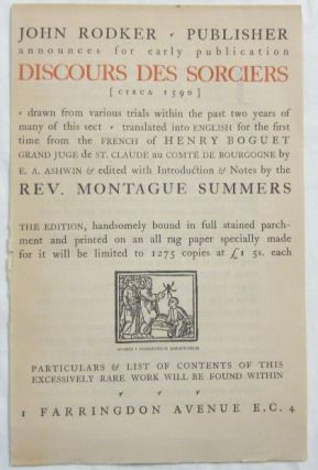 "Publisher's Prospectus [only] for the Rodker / Summers edition of ""Discours des Sorceriers"" Henry..."