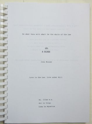 QBL A Primer [ Original Uncorrected Draft Print-out in 3 Volumes, with Typed letter, Signed ].