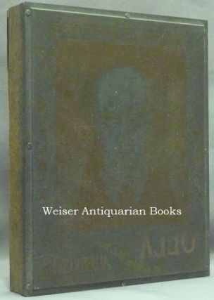 """The Original Engraved Metal Printing Plate Used for the Front Panel of the Dust Jacket of Crowley's final book, """"Olla, An Anthology."""" It comprise a portrait of Crowley by Frieda Lady Harris, Surrounded by Titling (the lettering is of course reversed)."""