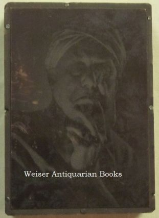 """An Original Small Engraved Metal Printing Plate With a Photographic Portrait of Aleister Crowley Wearing a Turban That Was Used to Print the Illustration on the First Publication of """"Liber Oz"""" in Postcard Format."""