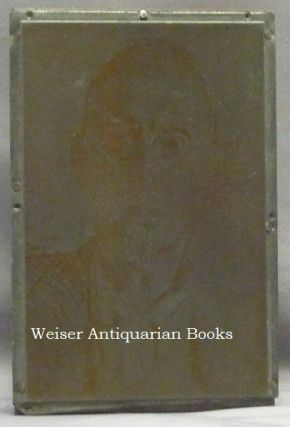 The Original Engraved Metal Printing Plate of a Portrait of Aleister Crowley by Augustus John which Crowley Used to Print a Post-card which he Distributed to Friends. With An Original Example of the Postcard.
