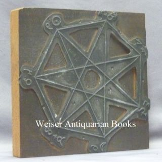 An Original Cast Metal Printing Plate of an Occult Diagram Depicting a Heptagram within a...