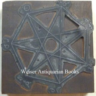An Original Cast Metal Printing Plate of an Occult Diagram Depicting a Heptagram within a Heptagon, with Astrological Symbols at Each of the Points.