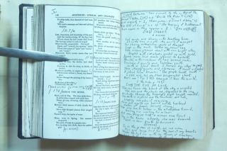 """A unique facsimile copy of The Works of Aleister Crowley (""""The Collected Works of Aleister Crowley"""" - 3 Volumes in 1) heavily annotated by Crowley scholar Roger Carey Staples with bibliographic notes, and corrections, ommitted passages etc. restored from Crowley's writings."""