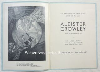 Aleister Crowley ... The Last Ritual. Read From His Own Works, According To His Wish, on December 5th, 1947, at Brighton.