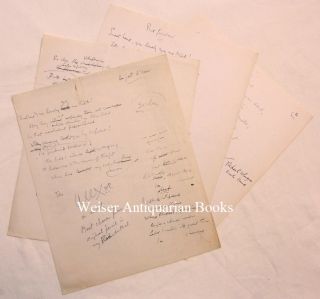 "Four pages of original holograph notes by Crowley towards a translation of Baudelaire's poem ""Le..."