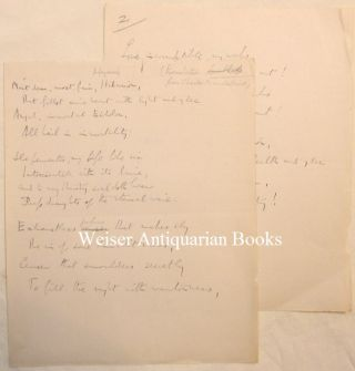 "A two page holograph manuscript translation of Baudelaire's poem ""Hymne"" (""Hymn) by Aleister..."