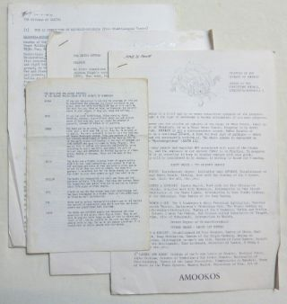 A yellow card document wallet containing approximately 40 pages of rituals, instructions, etc. produced for use by members of AMOOKOS. From the collection of David Tibet, many with his owner ship signature.